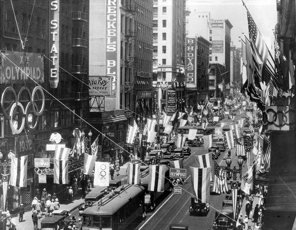Downtown Los Angeles decorated as the Olympic City in 1932. Courtesy of the LA84 Foundation.