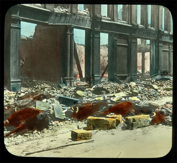 Handcolored lantern slide by Frederick Monson showing a scene of death and destruction after the 1906 San Francisco earthquake. Courtesy of Autry National Center, Braun Research Library Collection, LS.4193