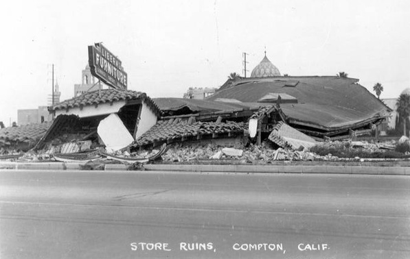 Liberal Furniture Store in Compton after the 1933 earthquake. Courtesy of the CSU Dominguez Hills Archives and Special Collections - South Bay Photography Collection