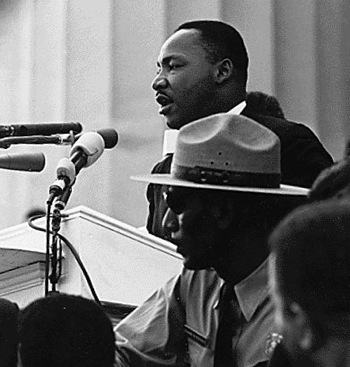 Dr. Martin Luther King, Jr. speaking at the March on Washington.