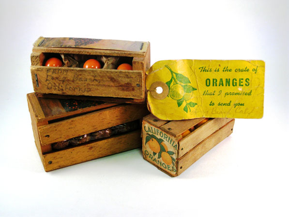 A miniature orange crate souvenir from of the David Boulé Collection.