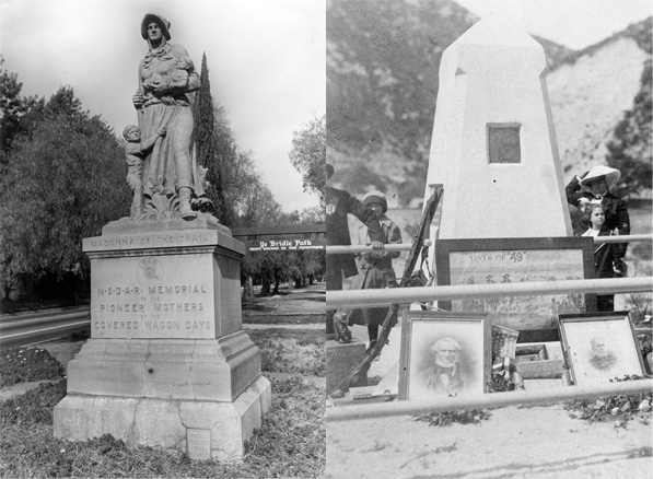 Trailside monuments in Upland (photo by John Cunningham, courtesy of the Upland Public Library Historic Photograph Collection) and in the Cajon Pass (right, photo courtesy of the San Bernardino Public Library's Pioneers of San Bernardino Collection)