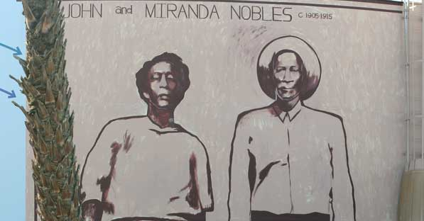 John and Miranda Nobles: detail of a mural on the site of the Nobles Ranch | Chris Clarke photo