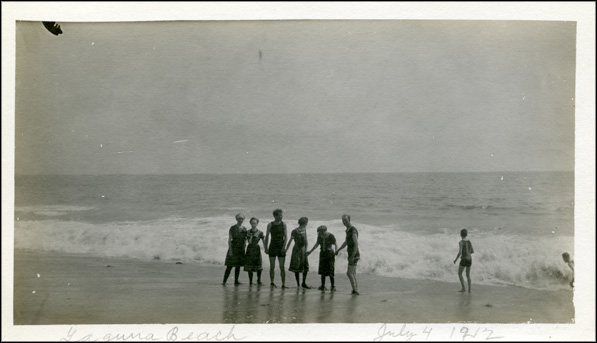 Family celebrating the Fourth of July on Laguna Beach, 1912. From the Knowlton Family Collection.