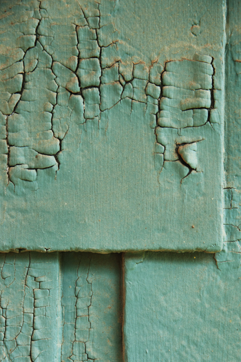 Sash green paint peeling on my house. | Photo: Douglas McCulloh