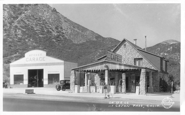 Route 66, like earlier trails, used the Cajon Pass as a gateway to the Southland. Courtesy Pomona Public Library, Frasher Foto Postcard Collection.