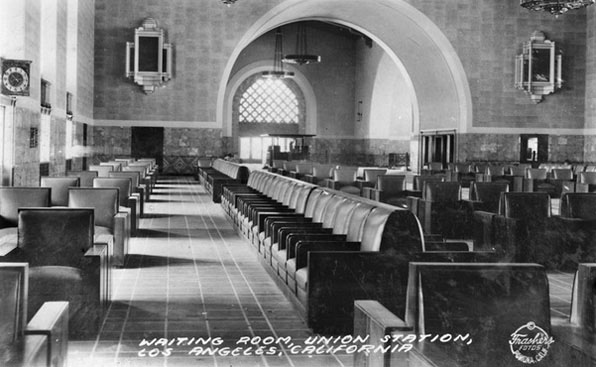 Union Station Waiting Room, 1939. Pomona Public Library / Frasher Foto Postcard Collection