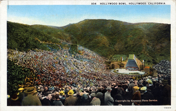 In 1927, the Hollywood Bowl debuted a pyramidal band shell designed by Lloyd Wright. Courtesy of the Werner von Boltenstern Postcard Collection, Department of Archives and Special Collections, Loyola Marymount University.