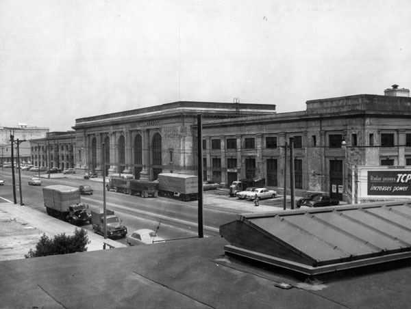 An abandoned Central Station, circa 1956. The historic depot was replaced by a meat-packing plant. Courtesy of the Los Angeles Examiner Collection, USC Libraries.