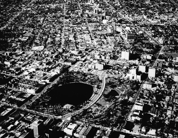 1948 aerial photograph by Spence Air Photos of MacArthur Park. Courtesy of the California Historical Society Collection, USC Libraries Special Collections