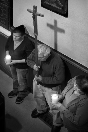 Lighting the way for Stations of the Cross. Photo by Douglas McCulloh.
