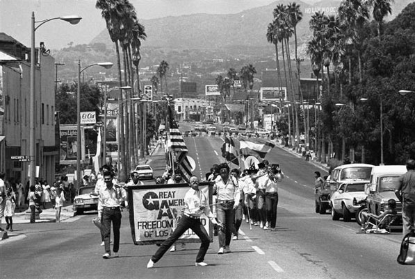 Parade at the inaugural Sunset Junction Street Festival. Courtesy of the Los Angeles Times Photographic Archive, UCLA Library.