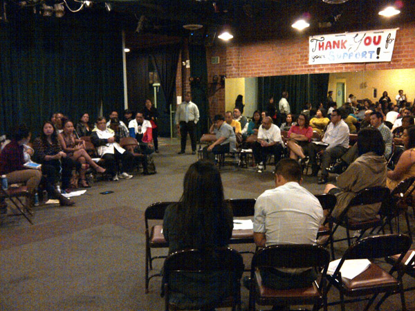 Members of L.A.'s Filipino American community convene in Historic Filipinotown to plan action and events in response to Typhoon Haiyan.