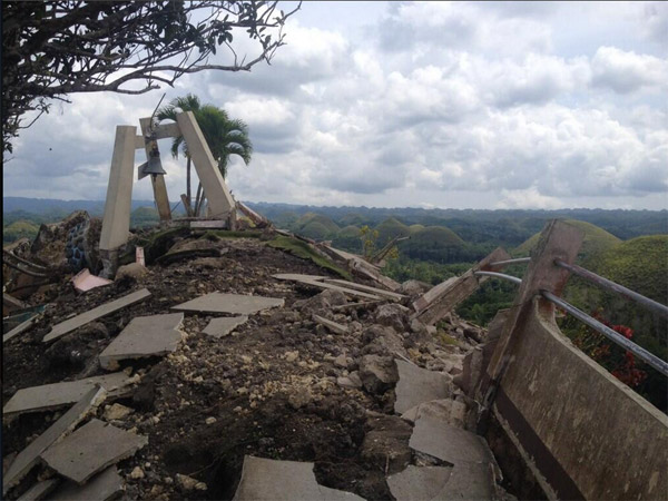 The concrete observation deck of Bohol, Philippines' Chocolate Hills attraction lies in ruins after the 7.2 earthquake on October 15.