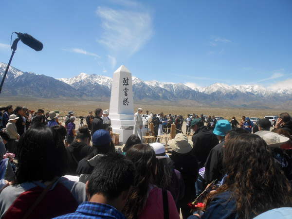 Buddhist and Christian ministers say prayers and chants during the interfaith service at the annual Manzanar Pilgrimage.
