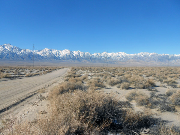Looking west, a view from the south end of the site of the proposed LADWP Owens Valley Solar Ranch Project near Manzanar National Historic Site.