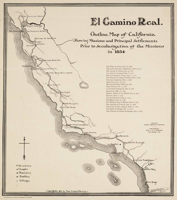 Map of El Camino Real. Courtesy UCLA Young Research Library.