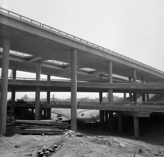 The Four Level nearing completion on July 18, 1949. Courtesy of the Los Angeles Times Photographic Archive, Department of Special Collections, Charles E. Young Research Library, UCLA.