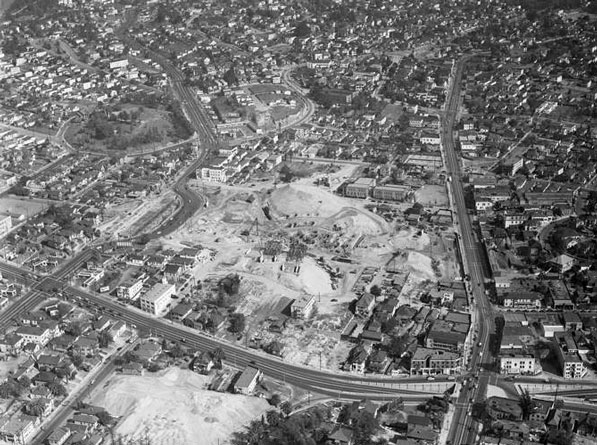 Demolition clearing for the Four Level interchange on February 16, 1948. Courtesy of the Los Angeles Times Photographic Archive, Department of Special Collections, Charles E. Young Research Library, UCLA.