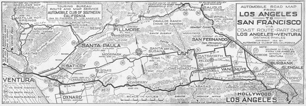1917 map of automobile routes between Los Angeles and Ventura. Courtesy  Automobile Club of Southern California (Strip Maps Collection held by the USC Libraries.)