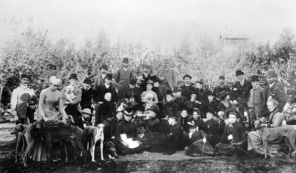 Members of the Valley Hunt Club with their hounds, circa 1888. Courtesy of the California Historical Society Collection, USC Libraries.