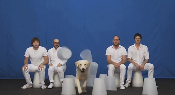 Screenshot from OK Go's video, 'White Knuckles'