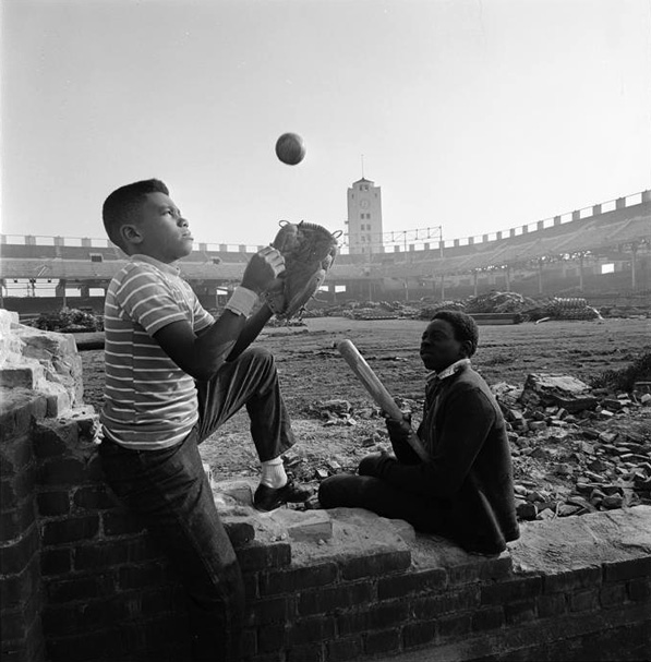 Children play among the ruins of L.A.'s Wrigley Field, 1969. Courtesy of Los Angeles Times Photographic Archive, Department of Special Collections, Charles E. Young Research Library, UCLA.