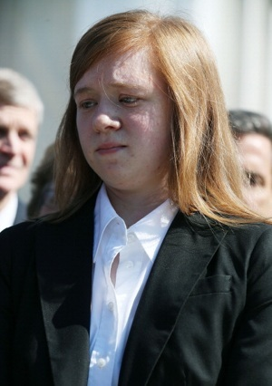 Plaintiff Abigail Noel Fisher speaks to the media after the U.S. Supreme Court heard arguments in her case on October 10, 2012 in Washington, DC. | Photo by Mark Wilson/Getty Images