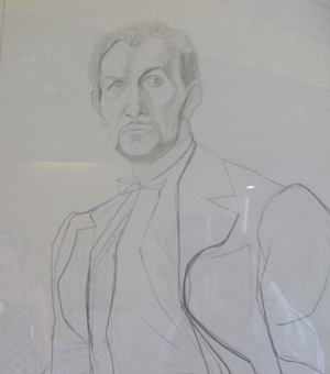 Pencil drawing of Vincent Price by Rico Lebrun