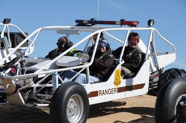 Secretary Salazar sits in the drivers seat of a sand rail at the Imperial Sand Dunes Recreation Area | Photo by Tami Heillemann-DOI