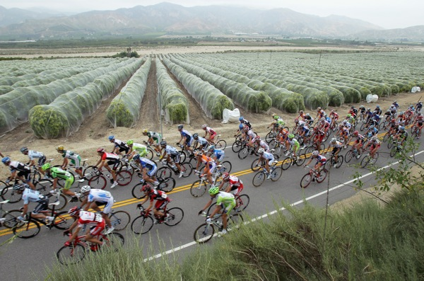 Amgen Tour of California riders race through the town of Piru in Ventura County. | Photo: Courtesy Doug Penisinger