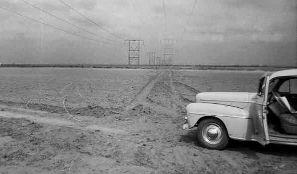 Car (Call Number: 02 - 30299; Photographer: G. Haven Bishop; Date:  3/10/1950; Description: Vincent Transmission Line)