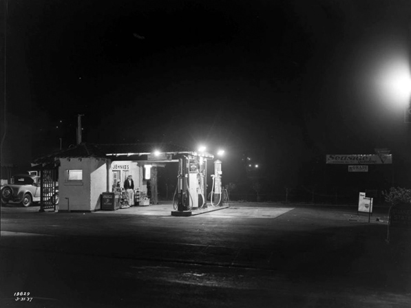 Service Station (Call Number: 02 - 19829; Photographer: Bishop, G. Haven; Date: 3/31/1937; Description: Night view of Service Station in Whittier)