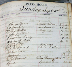 Register for the Pico House, June 1870 - May 1872. Signature page, Sunday, Sept. 11, 1870. Acquisition made possible by the Ramona chapter, Native Sons of the Golden West Autry National Center; 93.21.14