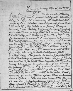 John Muir's letter to Ralph Waldo Emerson about the 1872 Lone Pine earthquake. Courtesy of the University of the Pacific