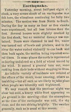 January 10, 1857 Los Angeles Star reporting on the Fort Tejon earthquake. Courtesy of the USC Libraries' Special Collections.