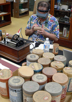 Michael Khanchalian digitizing wax phonographic recordings made by Charles Fletcher Lummis. Photo by Vlasta Radan
