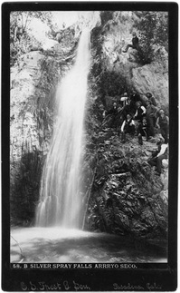 Hiking at Silver Spray Falls in the Arroyo Seco, 1890s. Photo by E.S. Frost. Courtesy of the Archives, Pasadena Museum of History (A7-80).