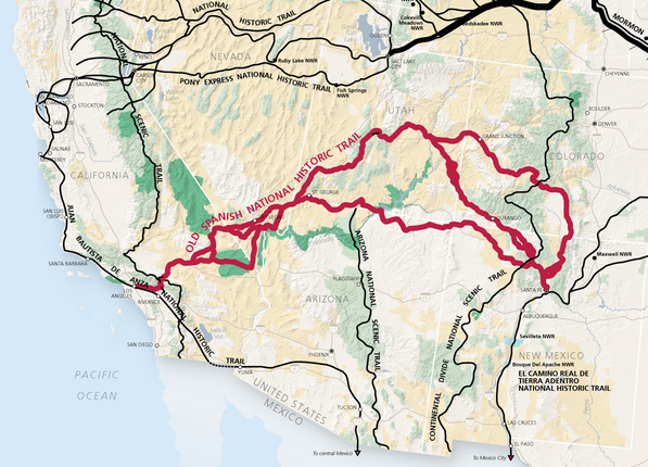 Old Spanish Trail (in red). Modified version of a map produced by the National Park Service.
