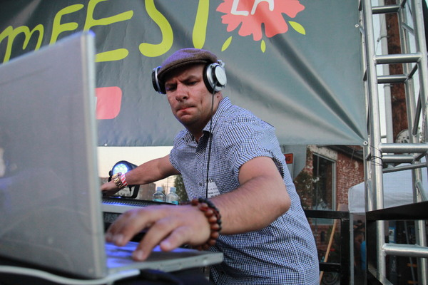 KCRW DJ playing between sets at BloomfestLA. | Photo: Ed Fuentes