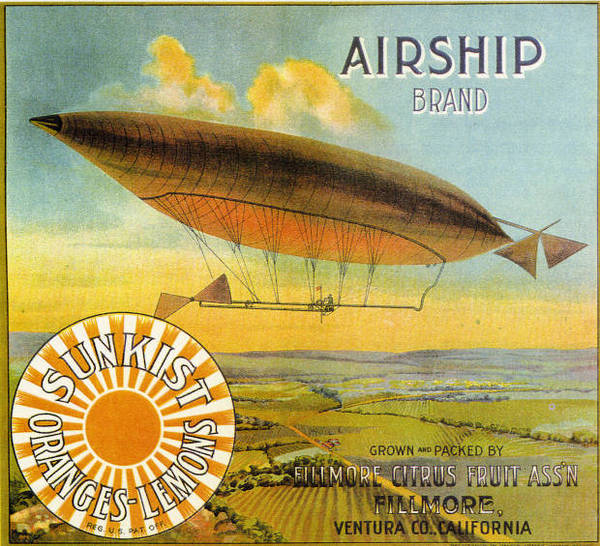 Citrus crate label for Airship brand Sunkist oranges and lemons, 1910. From the 1910 Los Angeles International Aviation Meet Research Collection, California State University Dominguez Hills Digital Collections.