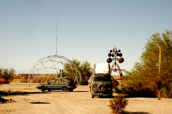 A portion of East Jesus, including art cars and the wind sculpture Cosmos. Photo by Flip Cassidy.