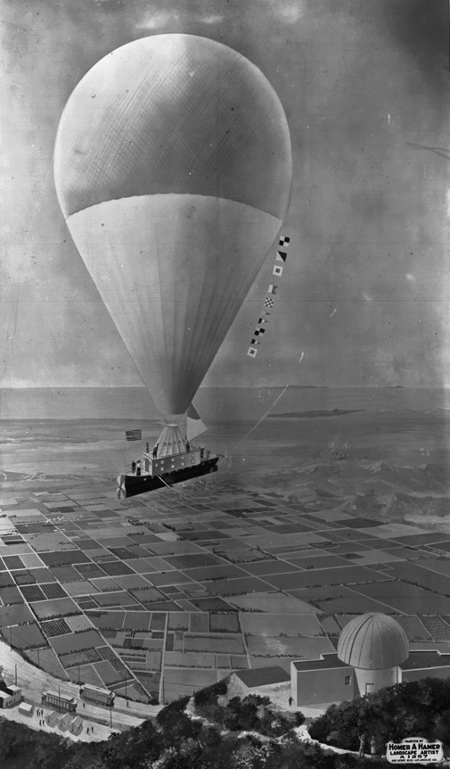 Photograph of a painting by Homer A. Hamer of a balloon trip to Mount Lowe, as envisioned by Professor Thaddeus S.C. Lowe, circa 1895-1910. From the Title Insurance and Trust / C. C. Pierce Photography Collection, USC Digital Library.