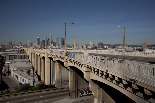 Sixth Street Viaduct from the east side of the Los Angeles River. Construction to replace the decaying bridge is expected to begin in late 2014 I Photo by Sterling Davis