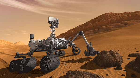 Artist's impression, Mars rover Curiosity on the surface of the Red Planet | Image courtesy NASA