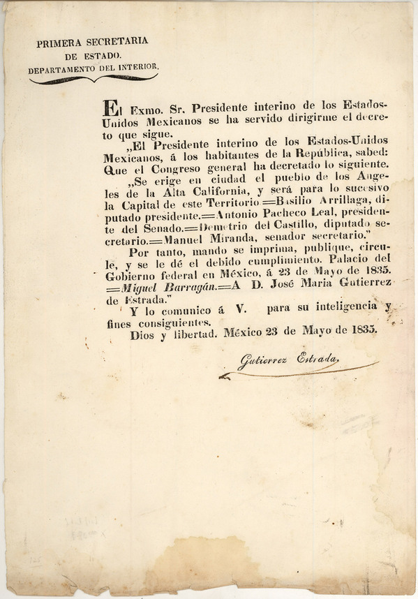 1835 Barragan decree