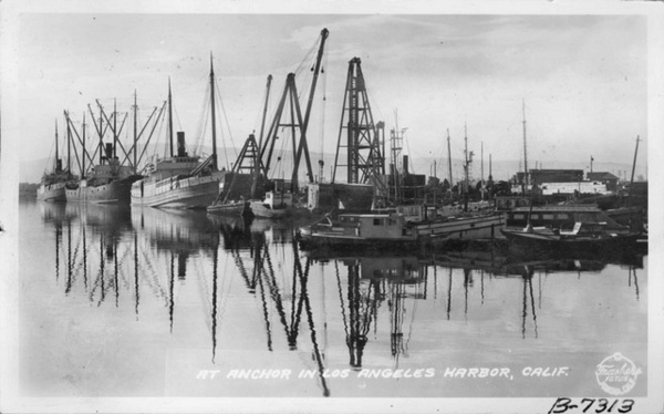 1936 postcard of the Los Angeles harbor. Courtesy of the Frasher Foto Postcard Collection, Pomona Public Library.