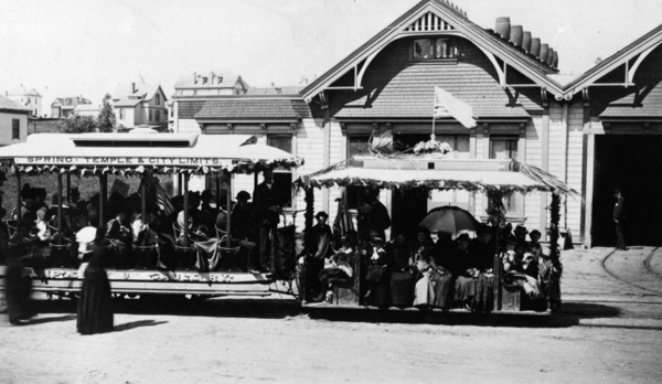 The Temple Street Cable Railway's powerhouse in Angeleno Heights, circa 1890. The station was located at the northwest corner of Temple and East Edgeware Road. Courtesy of the Photo Collection, Los Angeles Public Library.