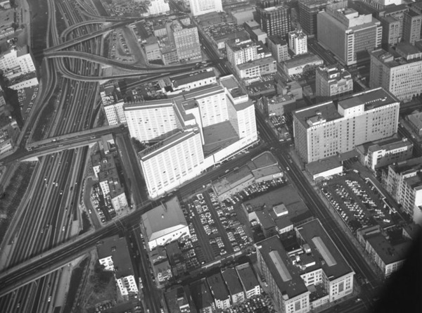 1955 aerial view of the intersection. Courtesy of the Kelly-Holiday Collection of Negatives and Photographs, Los Angeles Public Library.