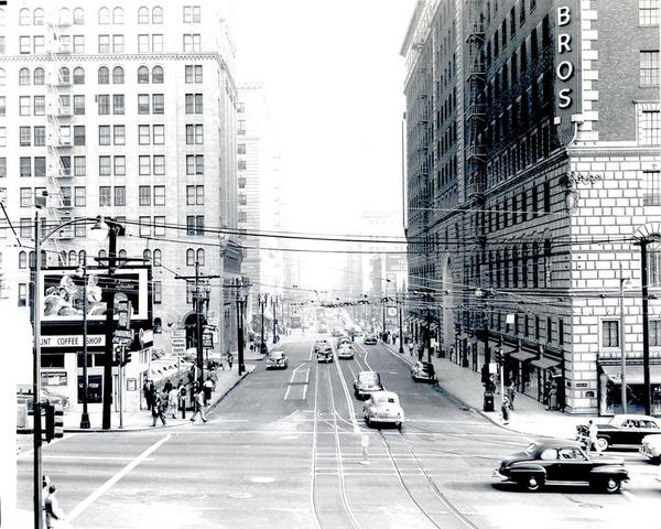 Circa 1960 view of Seventh Street, looking east from Figueroa. Courtesy of the Metro Transportation Library and Archive. Used under a Creative Commons license.